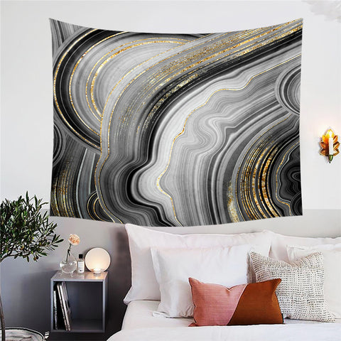 Black, Grey & Gold Marble Wall Tapestry