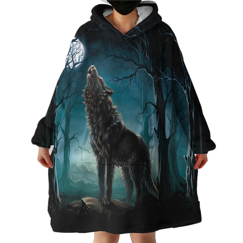 Wolf Howling In The Woods Sherpa Hoodie