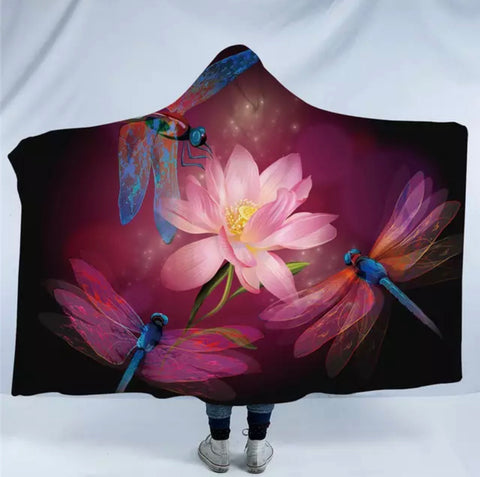 Three Dragonflies & Lotus Flower Hooded Blanket
