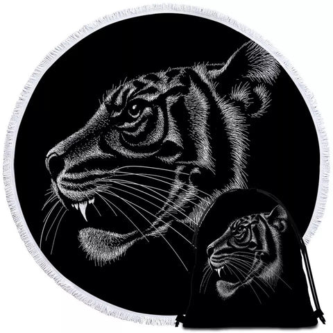 Black & White Tiger Round Towel