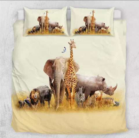 African Animals Posing For Picture Bedding Set