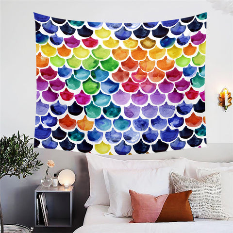 Bright Coloured Mermaid Scales Wall Tapestry