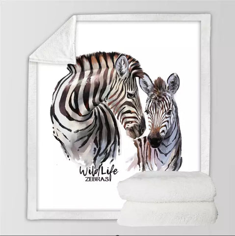 Wildlife Zebras Throw Rug