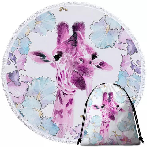 Purple & Pink Giraffe Round Towel