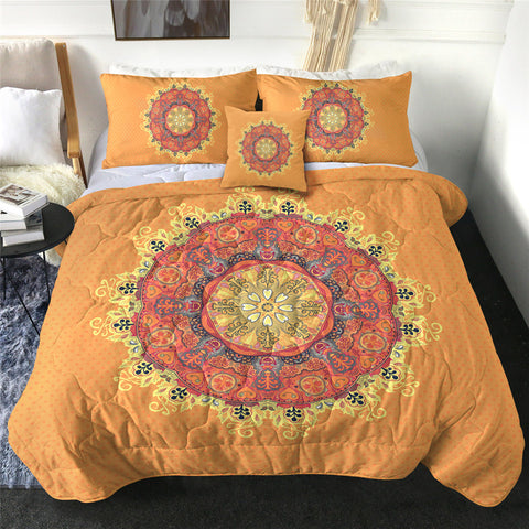 Dark & Light Orange Mandala Comforter Set