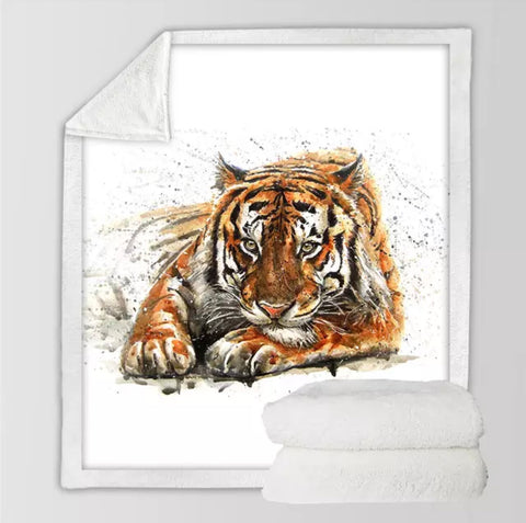 Tiger Chilling Throw Rug