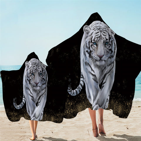 White Tiger Hooded Towel