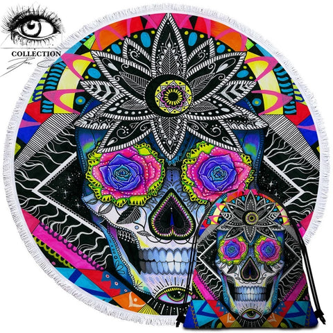 Sugar Skull By Pixie Cold Art Round Towel