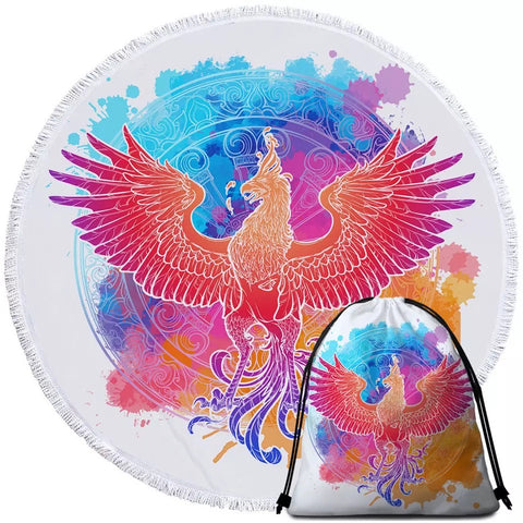 Red Phoenix (Colourful Watercolour) Round Towel