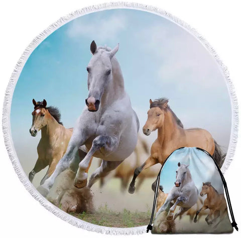 Three Horses Galloping Round Towel