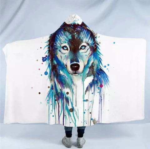 Wolf By Pixie Cold Art Hooded Blanket