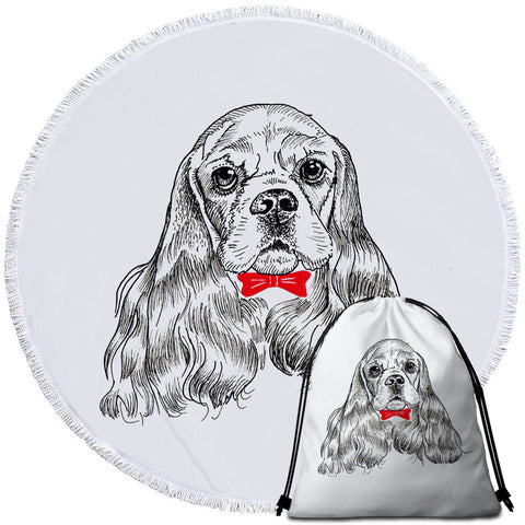 Red Bow Tie Cocker Spaniel Round Towel