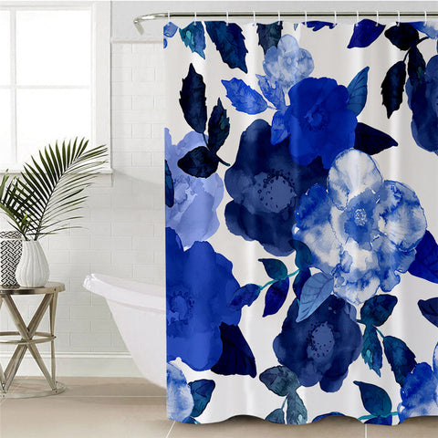 Watercolour Blue Flowers Shower Curtain