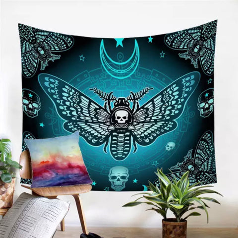 Death Moth (Blue) Wall Tapestry