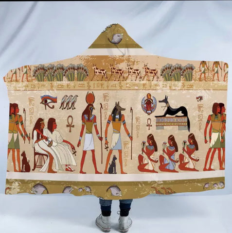 Ancient Egyptian Hieroglyphs Hooded Blanket