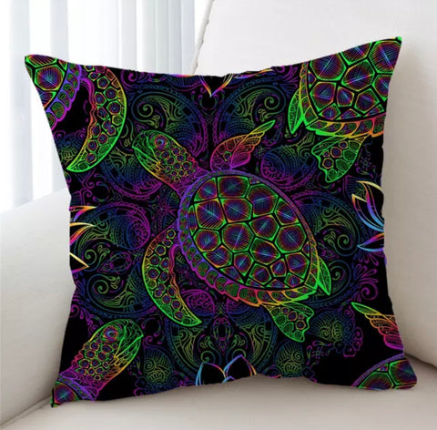 Neon Turtle Cushion Cover