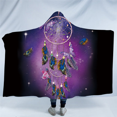 Purple Dreamcatcher & Butterflies Hooded Blanket