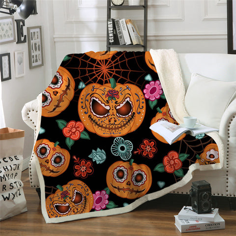 Cartoon Day Of The Dead Pumpkin Throw Rug