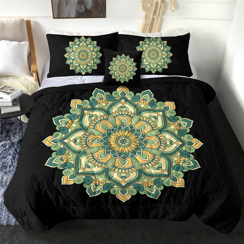 Dark & Light Green Mandala Flower Comforter Set