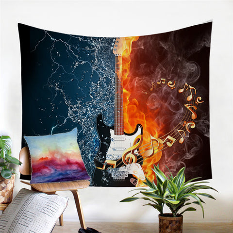 Fire & Water Bass Guitar Wall Tapestry
