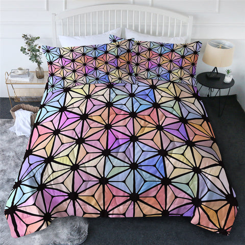 Rainbow Geometric Triangles Comforter Set