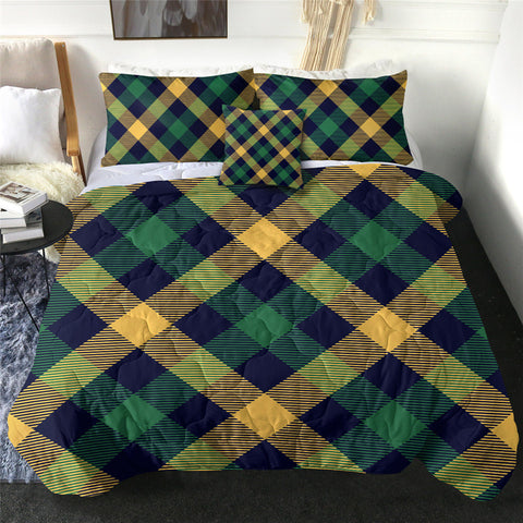 Green & Yellow Tartan Comforter Set
