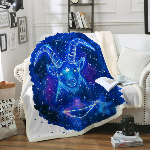 Steinbock (Capricorn) By Pixie Cold Art Throw Rug