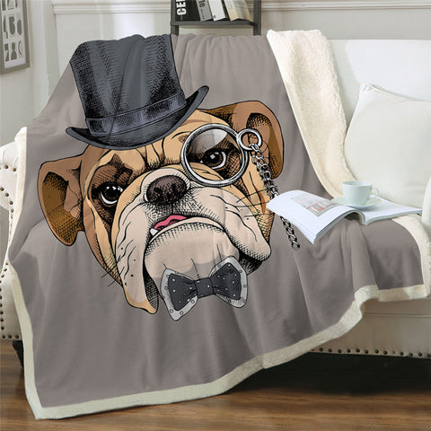 Gentleman Bulldog Throw Rug