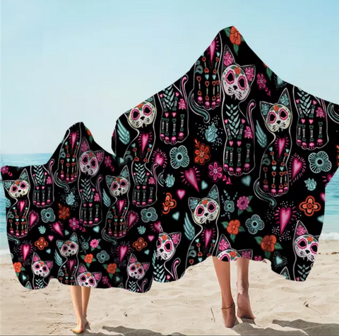 Day Of The Dead Cats Hooded Towel