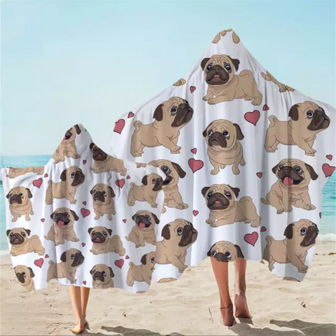 Pugs Love Hooded Towel