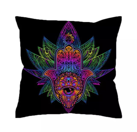 Rainbow Mandala Hamsa Cushion Cover