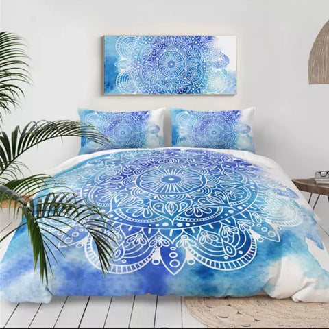 Blue Splash Mandala Bedding Set