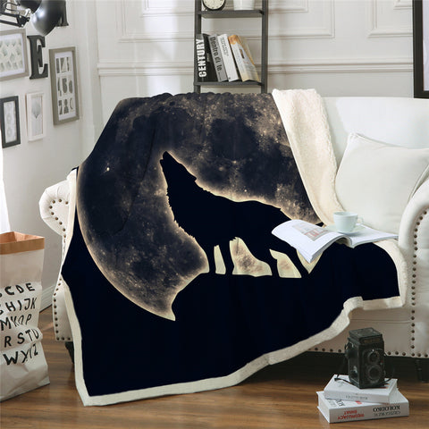 Wolf Howling At The Moon Throw Rug