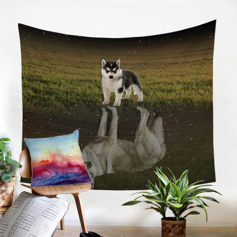 Husky Puppy Looking At Reflection Of Adult Self Wall Tapestry