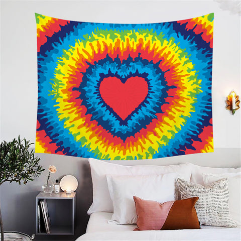 Rainbow Heart Tie Dye Wall Tapestry