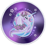 Purple Believe In Magic Round Towel