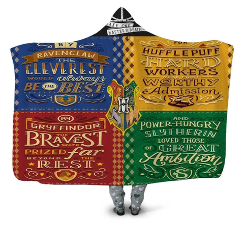 Hogwarts Four Houses Qualities Hooded Blanket