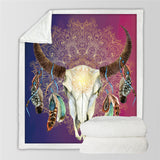 Blue To Pink Bull Skull Dreamcatcher Throw Rug
