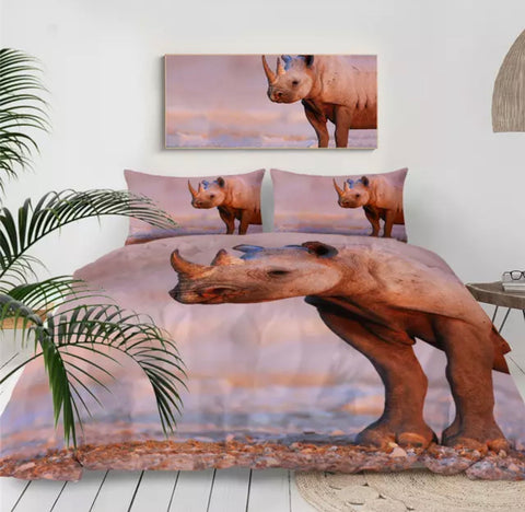Rhino At Sunset Bedding Set