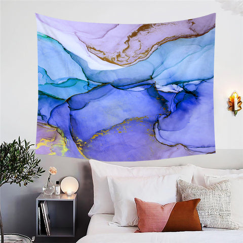 Lavender, Light & Dark Blue & Purple Marble Wall Tapestry