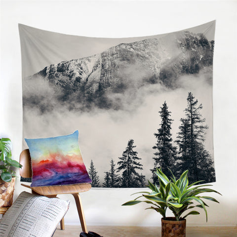 Fog At Foot Of Mountain Wall Tapestry