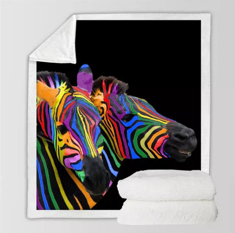 Two Rainbow Zebras Throw Rug