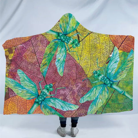 Three Dragonflies Hooded Blanket