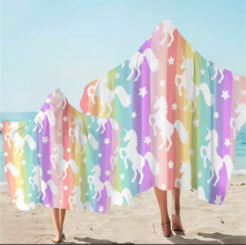 Pastel Rainbow Unicorns Hooded Towel