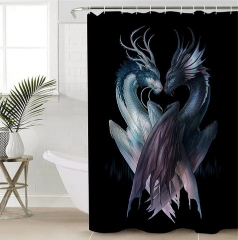 Yin & Yang Dragons By JoJoesArt Shower Curtain