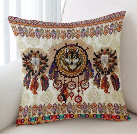 Mandala Wolf By Ismot Esha Cushion Cover