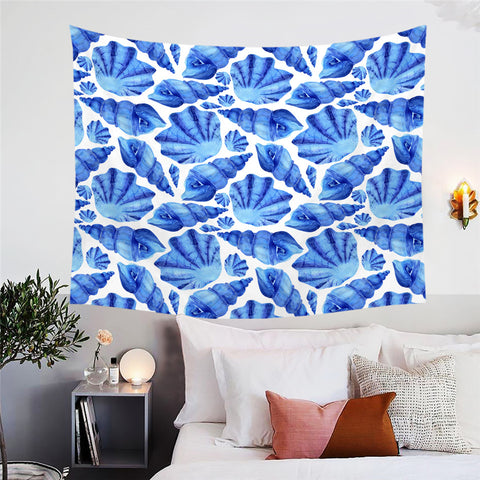 Blue Shells Wall Tapestry