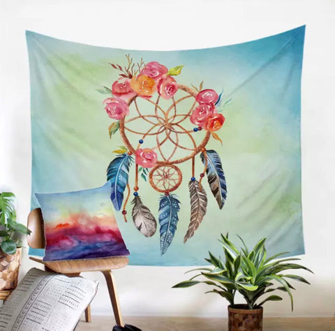 Orange & Pink Dreamcatcher Wall Tapestry