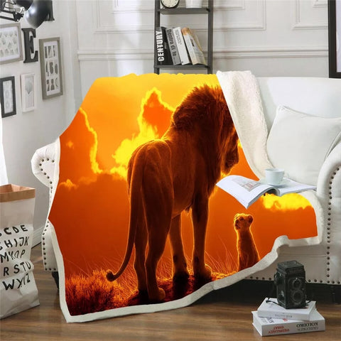 Mufasa Talking To Simba Throw Rug