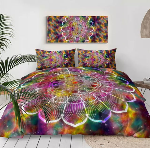 Rainbow Galaxy Mandala Bedding Set